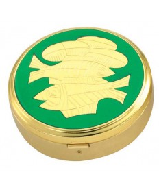 Gold Plated Pyx with Green Fish / Bread Design (44 hosts)