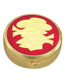 Gold Plated Pyx with Red Fish / Bread Design (44 hosts)