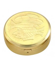 Gold Plated Pyx with Fish / Bread Design (44 hosts)