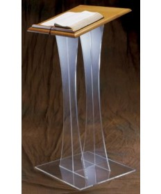 "Acrylic Lectern with Wood Top 43""H"