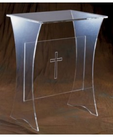 Acrylic Offertory Table with Etched Cross