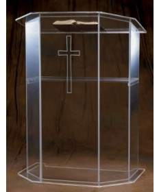 Acrylic Pulpit with Etched Cross and Shelf