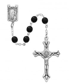 6 mm Black Glass Beads Rosary