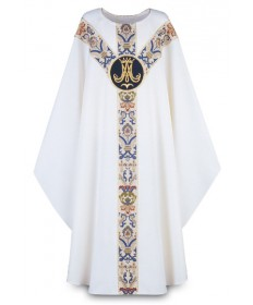 Chasuble by Slabbinck in Dupion Fabric with Marian Emblem