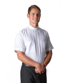 Clergy Shirt by MDS - White Short Sleeve