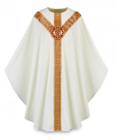Chasuble by Slabbinck in Brugia Fabric with Cross Emblem
