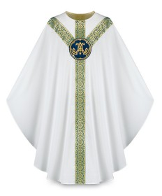 Chasuble by Slabbinck in Brugia Fabric with Marian Emblem