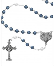7mm Blue and Pearl Lourdes Water Rosary