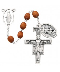 7 Decade Franciscan Wood Beads Rosary