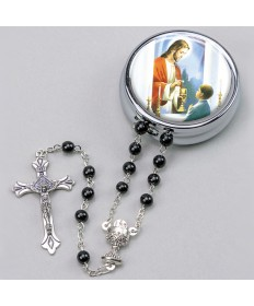 First Communion Boy's Rosary Set with Metal Box