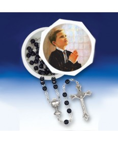 First Communion Boy's Rosary Set with White Box