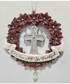 Cross with Wreath Ornament