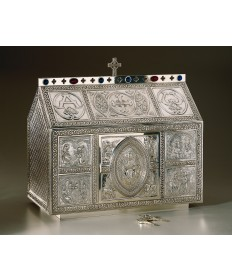 "Chest Style Tabernacle with Celtic Ornamentation 19.5""H"