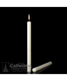 "1-1/4"" x 12"" Altar 51% Beeswax Plain End Candles"