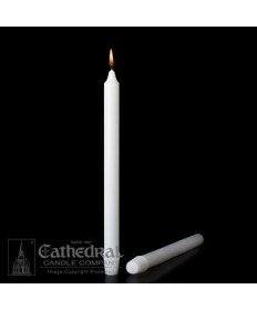 "Small Dia 7/8"" x 11-3/4"" Non-Beeswax Altar Candles Self-Fitting End (Short 4)"