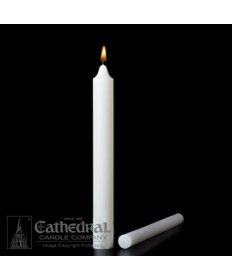 "Large Diameter 1-1/2"" x 12"" Non-Beeswax Altar Candles Plain End"