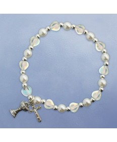 First Communion Bracelet with Clear Hearts