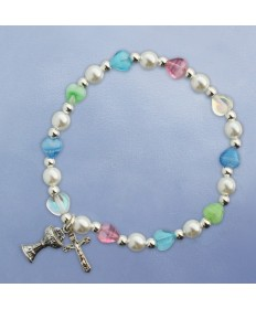 First Communion Bracelet with Multi Colored Hearts