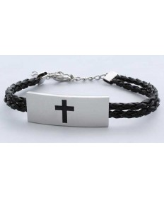 Woven Leather Bracelet with Cross Motif