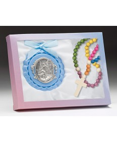 Blue Crib Medal with Rosary Set