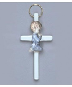 "5.5"" Poscelain Cross with Praying Boy"