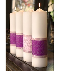 "Advent Candle Set Immanuel Collection 3"" x 12"" - 3 Purple/1 Pink"