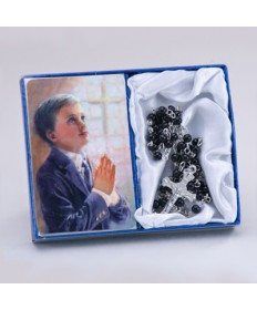 First Communion Rosary and Praying Boy Card Set