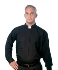 Clergy Shirt by MDS - Black Long Sleeve