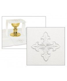 Mass Linen Set by Slabbinck Art Studio with Fleur de Lis Cross