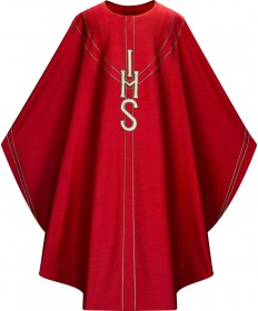 Chasuble by Slabbinck in Red Dupion Fabric with IHS Appliqué
