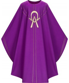 Chasuble by Slabbinck in Purple Dupion Fabric with Alpha/Omega Appliqué