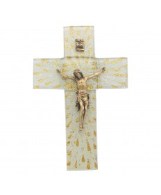 "7"" Glass Cross with Gold over Pewter Corpus"