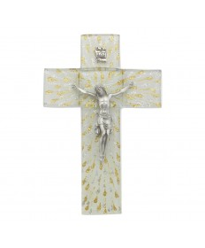 "7"" Glass Cross with Pewter Corpus"