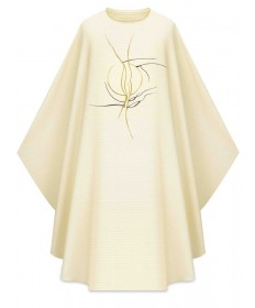 Chasuble by Slabbinck in Cantate White Fabric with Embroidery