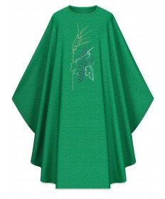 Chasuble by Slabbinck in Cantate Green Fabric with Embroidery