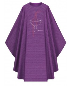 Chasuble by Slabbinck in Cantate Purple Fabric with Embroidery