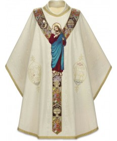 """Good Shepherd"" Chasuble by Slabbinck in Moiré Fabric"