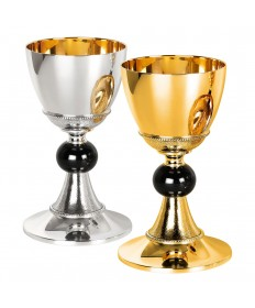 "Gold or Silver Plate Brass Chalice and Scale Paten 7-7/8""H"