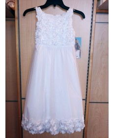 Communion Dress with Flower Bodice and Hem (Size 8)