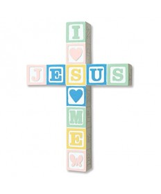 I Love Jesus Block Cross - Pastel Colors