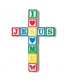 I Love Jesus Block Cross - Primary Colors