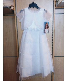 Communion Dress with Beaded Flower Belt and Sheer Jacket