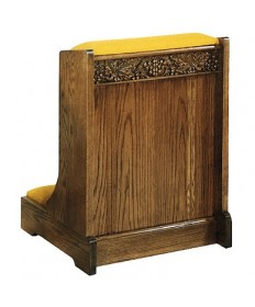 Prie Dieu with Shelf, Padded Armrest and Grape Design