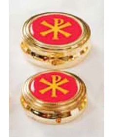 Pyx with Chi-Rho Enameled Cover (8-12 Hosts)