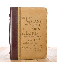 I Know the Plans Two-Tone Bible Cover - Jeremiah 29:11 - Large