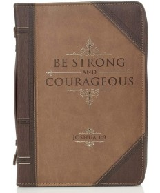 Courage Two-Tone Brown Bible Cover - Joshua 1:9 - Medium