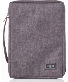 Canvas Grey Bible Cover - Medium