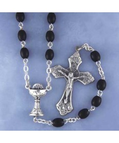 First Communion Boy's Rosary - Black Wood