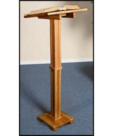 Silk-Screened Standing Lectern with Pecan Stain
