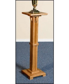 Silk-Screened Flower Stand with Pecan Stain by Robert Smith